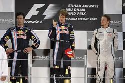 Podium: tweede Mark Webber, Red Bull Racing, winnaar Sebastian Vettel, Red Bull Racing, derde Jenson