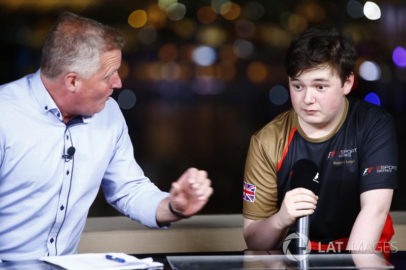 Brendon Leigh talks, Johnny Herbert after winning the E-Sports event