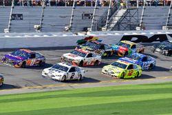 Denny Hamlin, Joe Gibbs Racing Toyota and Brad Keselowski, Team Penske Ford Fusion and Ryan Blaney, Team Penske Ford Fusion