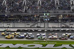 Dalton Sargeant, GMS Racing, Performance Plus Motor Oil Chevrolet Silverado and David Gilliland, Kyle Busch Motorsports, Pedigree Toyota Tundra