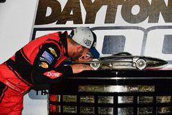 Austin Dillon, Richard Childress Racing Chevrolet Camaro celebrates in victory lane