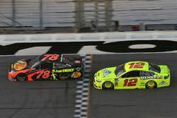 Martin Truex Jr., Furniture Row Racing Toyota, Ryan Blaney, Team Penske Ford Fusion