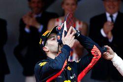 Race winner Daniel Ricciardo, Red Bull Racing, drinks Champagne from his shoe