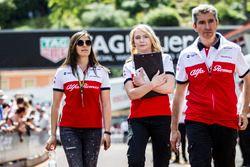 Tatiana Calderon, Sauber Test Driver walks the track with Ruth Buscombe, Sauber Race Strategist and Xevi Pujolar, Sauber Head of Track Engineering