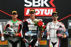 Podium STK1000: race winner Markus Reiterberger, second place Maximilian Scheib, third place Roberto Tamburini