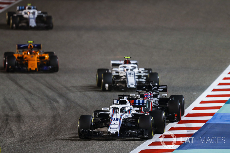 Lance Stroll, Williams FW41 Mercedes, Romain Grosjean, Haas F1 Team VF-18 Ferrari, Charles Leclerc, Sauber C37 Ferrari y Stoffel Vandoorne, McLaren MCL33 Renault
