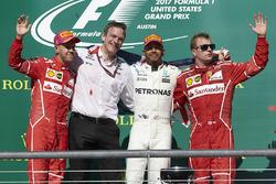 Second place Sebastian Vettel, Ferrari, James Allison, Technical Director, Mercedes AMG F1, race winner Lewis Hamilton, Mercedes AMG F1, third place Kimi Raikkonen, Ferrari, in the podium