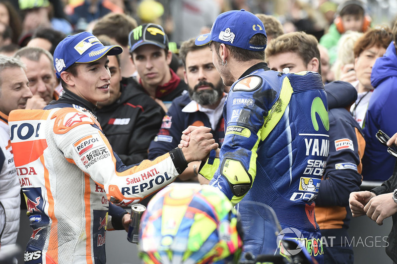 Marquez and Rossi congratulate each other