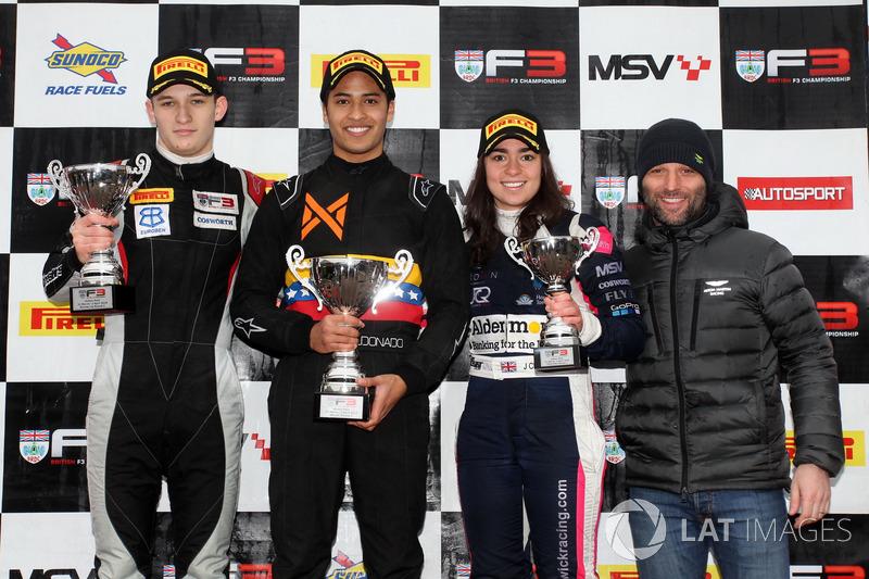 Podium: second place Tristan Charpentier, Race winner Fortec Motorsports, Manuel Maldonado, Fortec Motorsports, third placeJamie Chadwick, Douglas Motorsport with Darren Turner