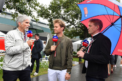 Damon Hill, Sky TV, Nico Rosberg, Mercedes-Benz Ambassador and Simon Lazenby, Sky TV