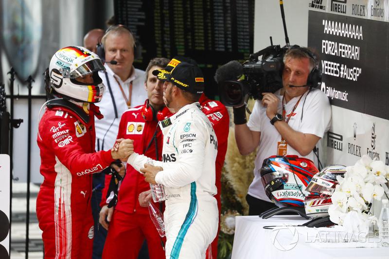 Sebastian Vettel, Ferrari, Lewis Hamilton, Mercedes-AMG F1