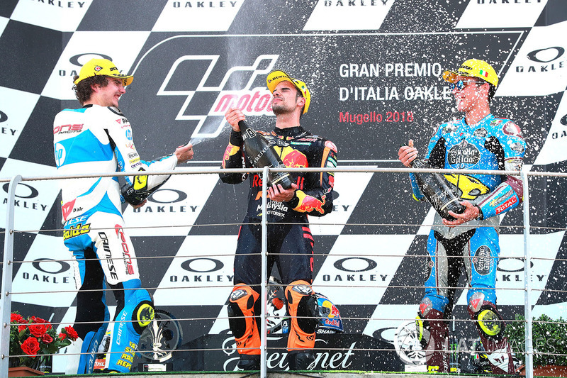 Podio: ganador de la carrera Miguel Oliveira, Red Bull KTM Ajo Moto2, segundo lugar Lorenzo Baldassarri, Pons HP40 Miguel Oliveira, tercer lugar Joan Mir, Marc VDS Moto2