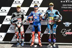 Polesitter Mattia Pasini, Italtrans Racing, second place Marcel Schrotter, Dynavolt Intact GP, third place Alex Marquez, Marc VDS