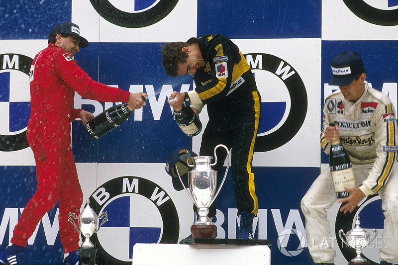 Race winner Ayrton Senna, Lotus, second place Michele Alboreto, Ferrari, third place Patrick Tambay, Renault