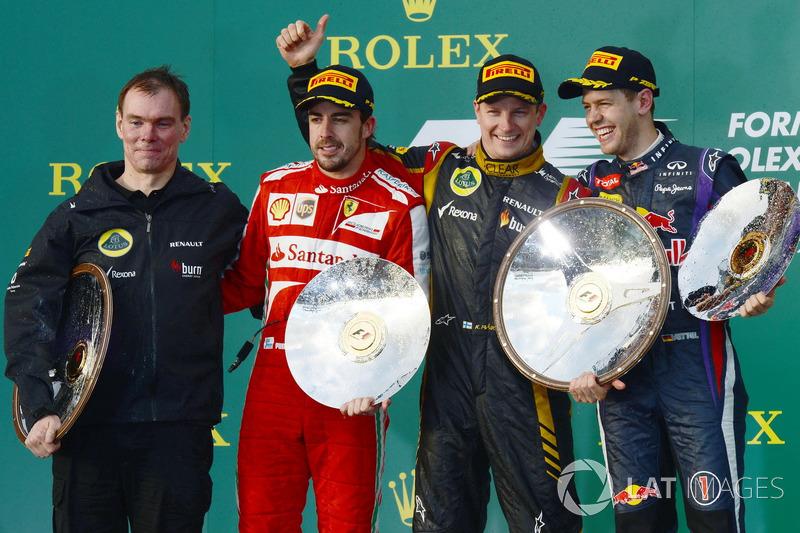2013: 1. Kimi Räikkönen, 2. Fernando Alonso, 3. Sebastian Vettel