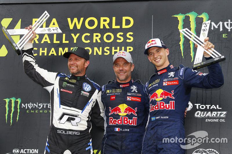 Winner Sébastien Loeb, Team Peugeot Total, second place Petter Solberg, PSRX Volkswagen Sweden, third place Timmy Hansen, Team Peugeot Total