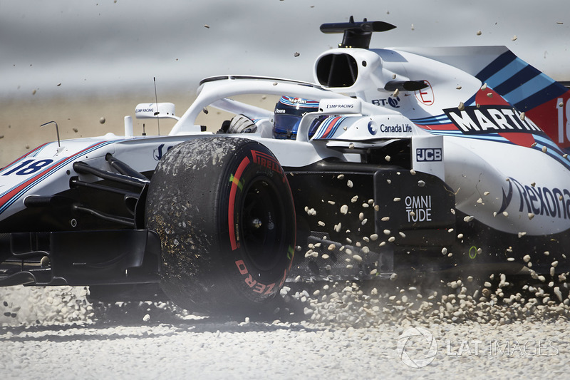 Lance Stroll, Williams FW41, corre a través de la grava