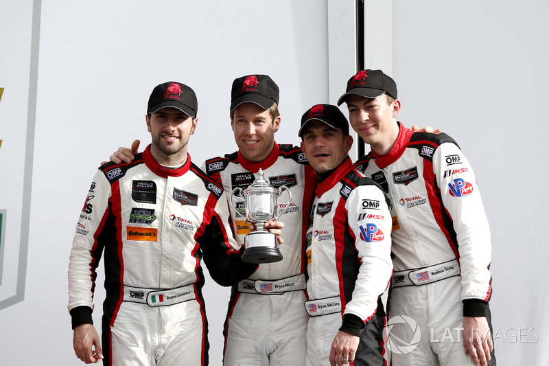 Victory lane, third place GTD: #48 Paul Miller Racing Lamborghini Huracan GT3: Madison Snow, Bryan Sellers, Andrea Caldarelli, Bryce Miller