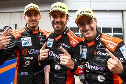 Race winners Roman Rusinov, Andrea Pizzitola, Jean-Eric Vergne, G-Drive Racing