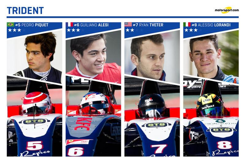 Trident Racing et ses pilotes : Pedro Piquet, Giuliano Alesi, Ryan Tveter et Alessio Lorandi