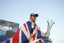Race winner Sam Bird, DS Virgin Racing, celebrates with his trophy on the podium