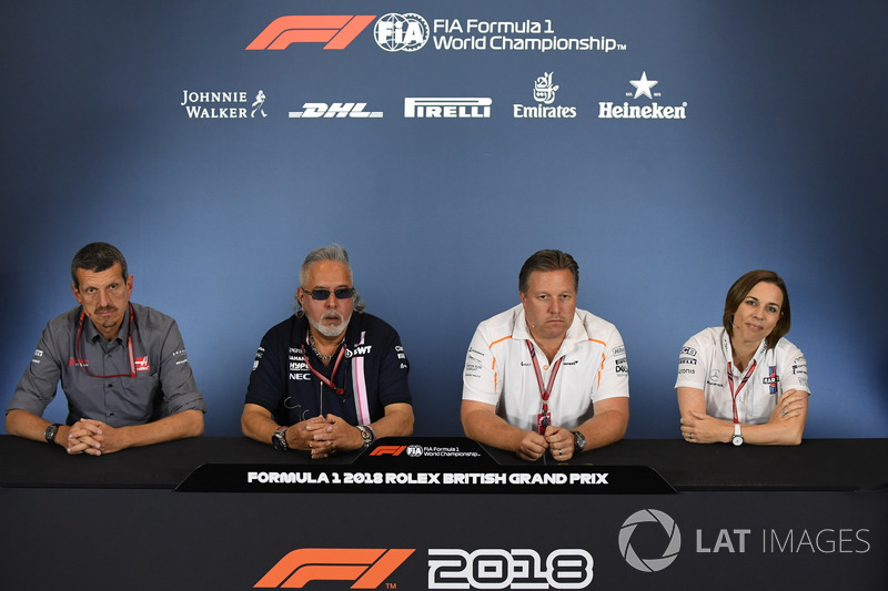 Guenther Steiner Principal Haas F1 Team, Dr. Vijay Mallya, Force India Formula One Team Owner, Zak Brown, McLaren Racing CEO and Claire Williams, Williams Deputy Team Principal in the Press Conference
