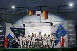 Podium: race winners Sébastien Buemi, Anthony Davidson, Kazuki Nakajima, Toyota Gazoo Racing, second