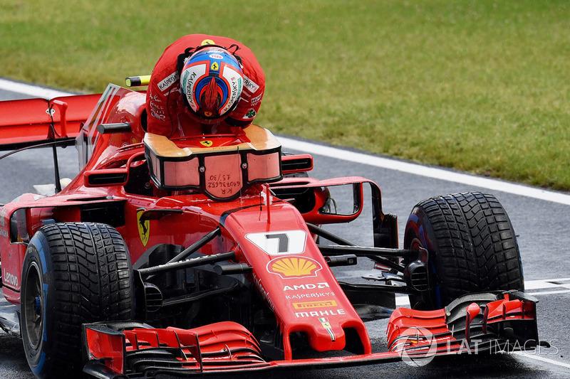 Kimi Raikkonen, Ferrari SF71H dans le Parc Fermé