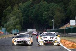 #99 ROWE Racing BMW M6 GT3: Jens Klingmann, Nicky Catsburg, Alexander Sims, #4 Black Falcon Mercedes-AMG GT3: Maro Engel, Yelmer Buurmann, Luca Stolz