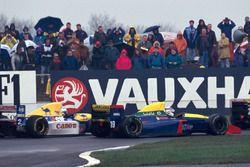 Alain Prost, Williams Renault FW15C alongside Phillipe Alliot, Larrouse Lamborghini LH93