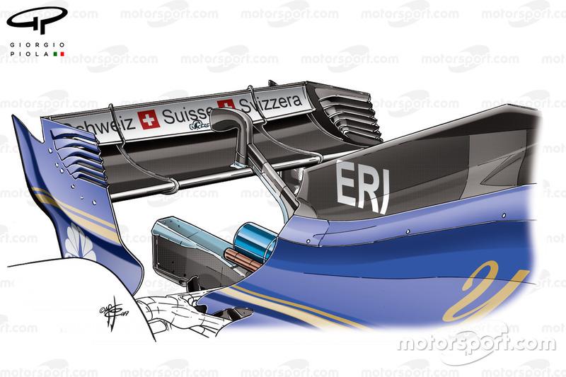 Sauber C36, nuovo cofano e ala posteriore