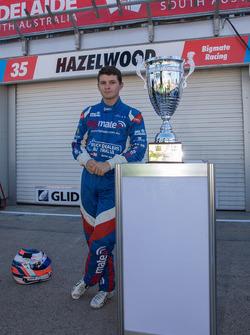 Todd Hazelwood, Brad Jones Racing Holden with the Adelaide 500 trophy