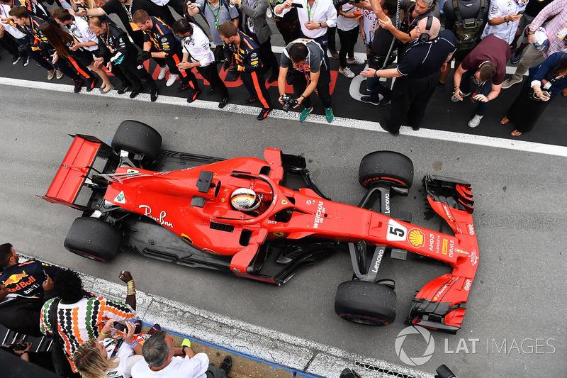 Race winner Sebastian Vettel, Ferrari SF71H arrives in parc ferme