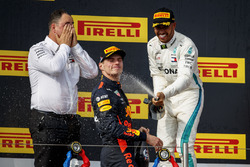 Ron Meadows, Sporting Director, Mercedes AMG, Max Verstappen, Red Bull Racing, 2nd position, Lewis Hamilton, Mercedes AMG F1, 1st position, spray Champagne on the podium