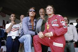 Austrian singer and songwriter Udo Jurgens with Niki Lauda, Ferrari