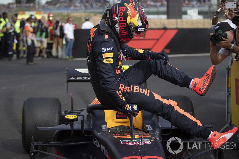 Max Verstappen, Red Bull Racing RB14 en parc ferme