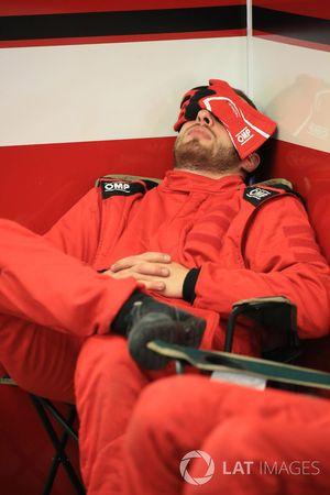 Team member sleeps