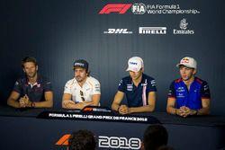 (L to R): Romain Grosjean, Haas F1, Fernando Alonso, McLaren, Esteban Ocon, Force India F1 amd Pierre Gasly, Scuderia Toro Rosso in the Press Conference