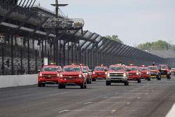 Chevrolet safety trucks dry the track