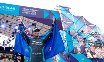 Race winner Mitch Evans, Jaguar Racing celebrates on the podium