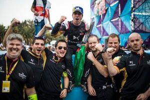 Antonio Felix da Costa, DS Techeetah, 2nd position, celebrates with his team at the podium