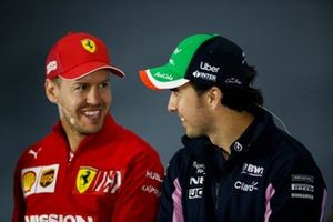 Sergio Perez, Racing Point and Sebastian Vettel, Ferrari in the Press Conference