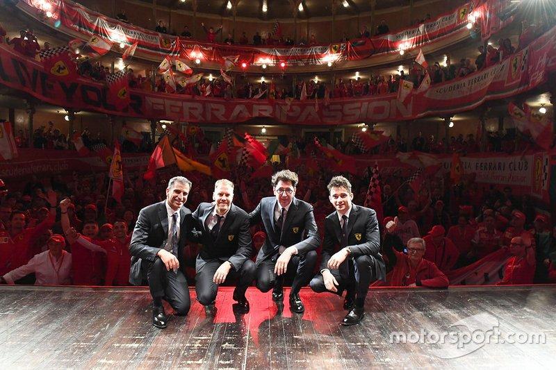 Sebastian Vettel, Charles Leclerc, Marc Gene, Mattia Binotto, Team Principal Ferrari