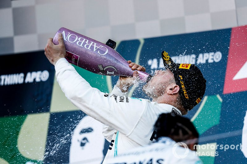 Valtteri Bottas, Mercedes AMG F1, 1st position, drinks Champagne on the podium