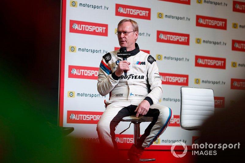 Ari Vatanen is interviewed on the Autosport stage