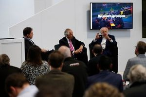 James Allen, Peter Hain and David Richards, chairman of Motorsport UK talk to the crowd at the Business Forum