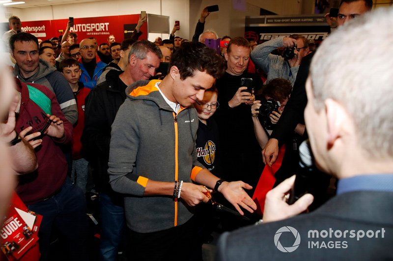 Lando Norris, McLaren cuts the ribbon to open Autosport International 2020