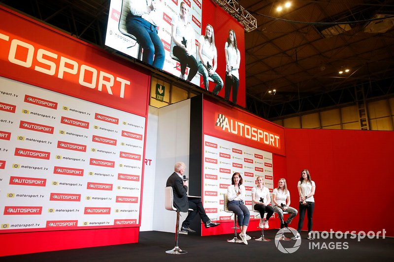 Cather Bond Muir, W Series CEO and the W series drivers are interviewed on stage