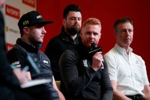 BTCC drivers Jack Goff, Daniel Rowbottom, Josh Cook, and Matt Neal are interviewed on stage