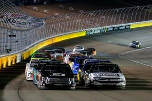 Kyle Busch, Kyle Busch Motorsports, Toyota Tundra Cessna and Sheldon Creed, GMS Racing, Chevrolet Silverado Chevy.com /Trench Shoring restart